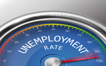 unemployment rate: unemployment rate conceptual 3d illustration meter isolated on grey background