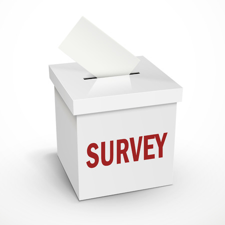 balloting: survey word on the 3d illustration white voting box isolated on white background Illustration