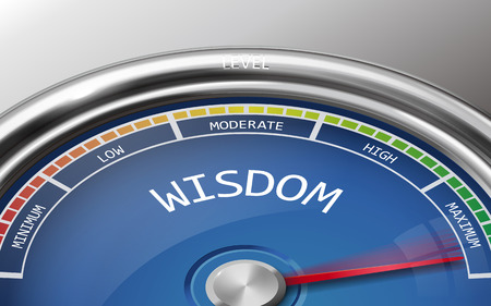 movement control: wisdom conceptual 3d illustration meter indicator isolated on grey background