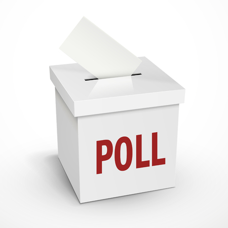 poll word on the 3d illustration white voting box isolated on white background