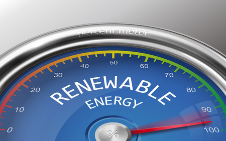 indicate: renewable energy conceptual 3d illustration meter indicate hundred percent isolated on grey background