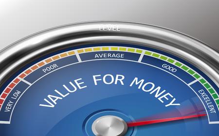 valeur pour l'argent conceptuel indicateur 3d illustration mètres isolé sur fond gris
