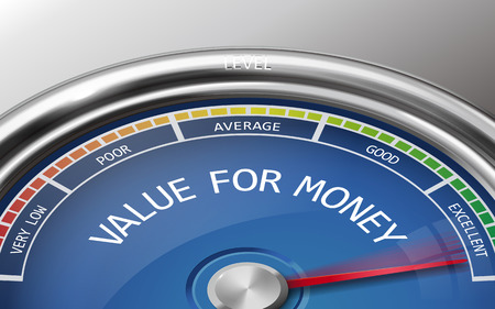 value for money conceptual 3d illustration meter indicator isolated on grey background Ilustração