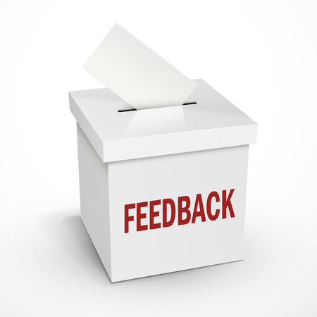 constructive: feedback word on the 3d illustration white voting box isolated on white background