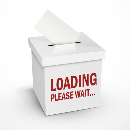 balloting: loading word on the 3d illustration white voting box isolated on white background