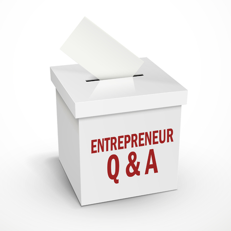 voting box: entrepreneur Q and A words on the 3d illustration white voting box isolated on white background Illustration