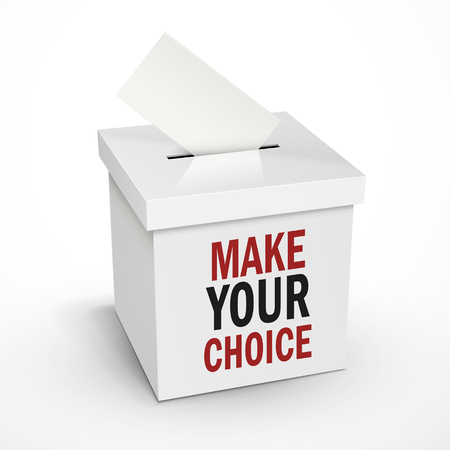 voting box: make your choice words on the 3d illustration white voting box isolated on white background Illustration