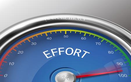 effort: effort conceptual 3d illustration meter indicate hundred percent isolated on grey background