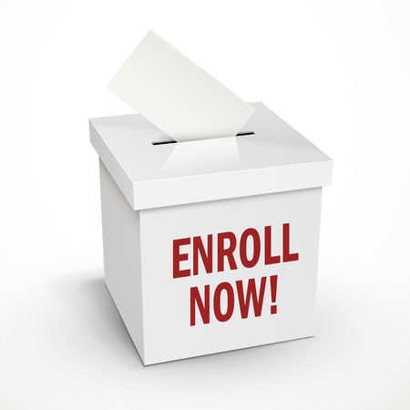 enlisting: enroll now words on the 3d illustration white voting box isolated on white background
