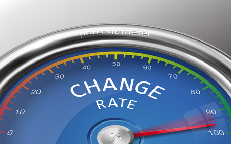 adapting: change rate conceptual 3d illustration meter indicate hundred percent isolated on grey background Illustration
