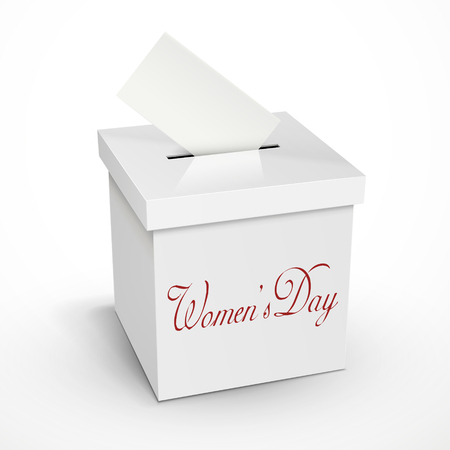 voting box: womens day words on the 3d illustration white voting box isolated on white background