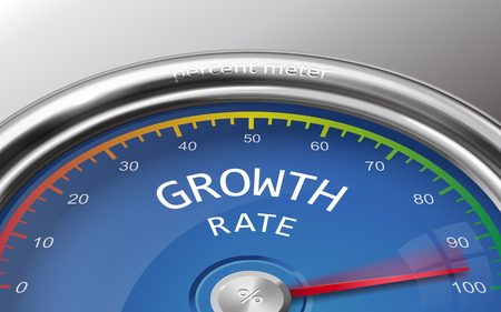 growth rate 3d illustration meter indicate hundred percent isolated on grey background 向量圖像