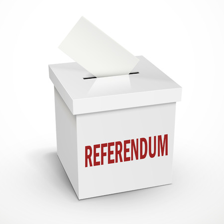 designate: referendum word on the 3d illustration white voting box isolated on white background
