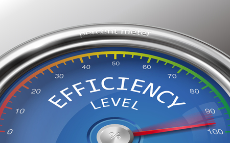 efficiency level conceptual 3d illustration meter indicate hundred percent isolated on grey background