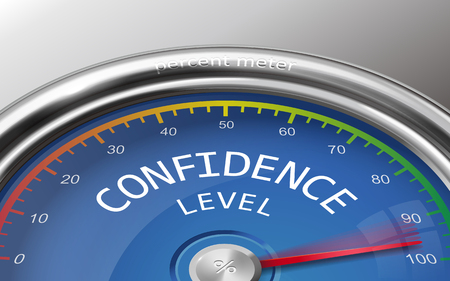 confidence level conceptual 3d illustration meter indicating hudrend percent isolated on grey background Иллюстрация