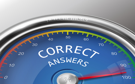 indicate: correct answers conceptual 3d illustration meter indicate hundred percent isolated on grey background Illustration