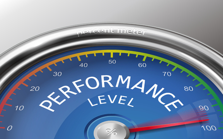 indicate: performance level conceptual 3d illustration meter indicate hundred percent isolated on grey background