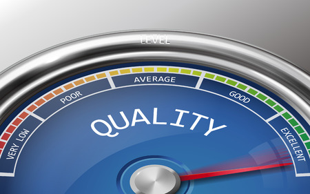 bad service: quality conceptual 3d illustration meter indicator isolated on grey background