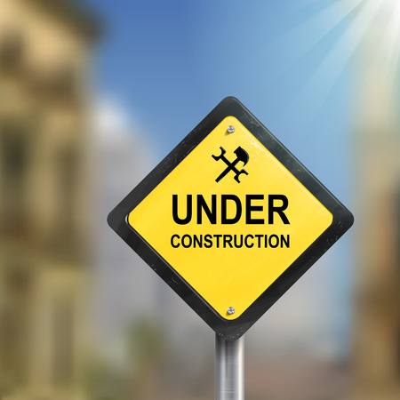 under construction road sign: 3d illustration of under construction road sign isolated blurred street scene