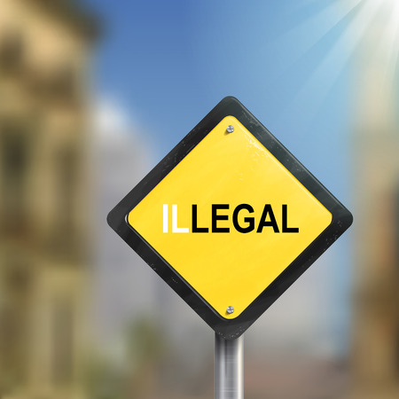 violate: 3d illustration of yellow roadsign of legal illegal isolated on blurred street scene