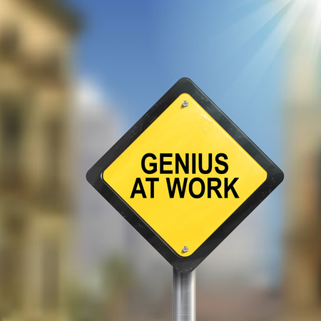smart goals: 3d illustration yellow road sign of genius at work isolated on blurred street scene