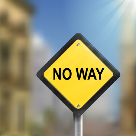 3d illustration of yellow roadsign of no way isolated on blurred street scene