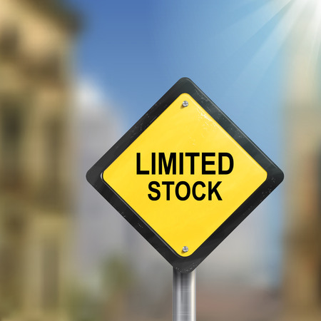 3d illustration of yellow roadsign of limited stock isolated on blurred street scene