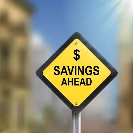 3d Illustration of savings ahead road sign isolated on blurred street scene