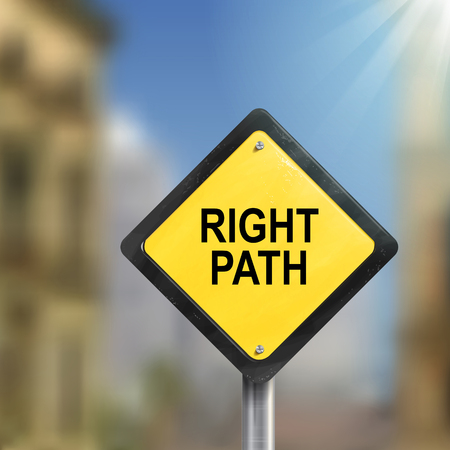 right path: 3d illustration of yellow roadsign of right path isolated on blurred street scene Illustration