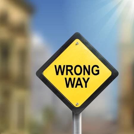 3d illustration de roadsign jaune de mauvaise façon isolée sur floue scène de rue