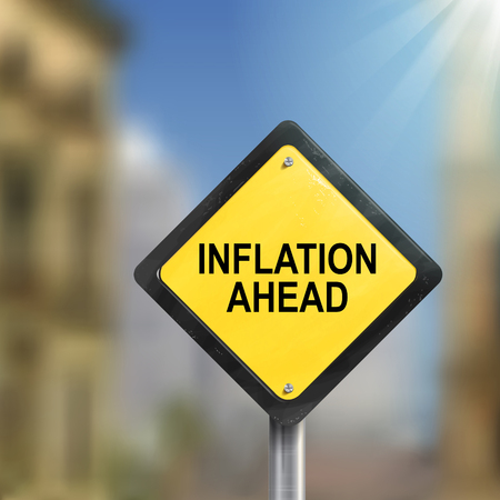 inflation: 3d illustration of yellow roadsign of inflation ahead isolated on blurred street scene