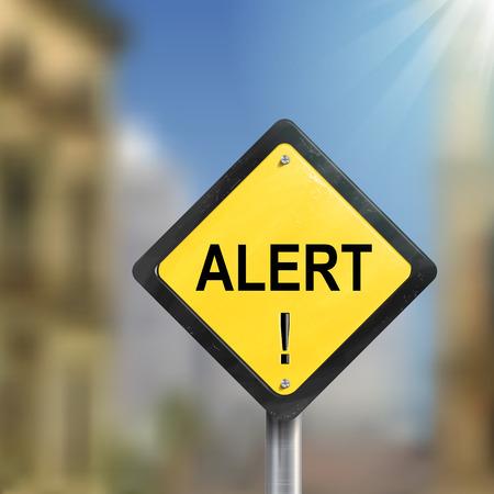 yellow beware: 3d illustration of yellow roadsign of alert isolated on blurred street scene