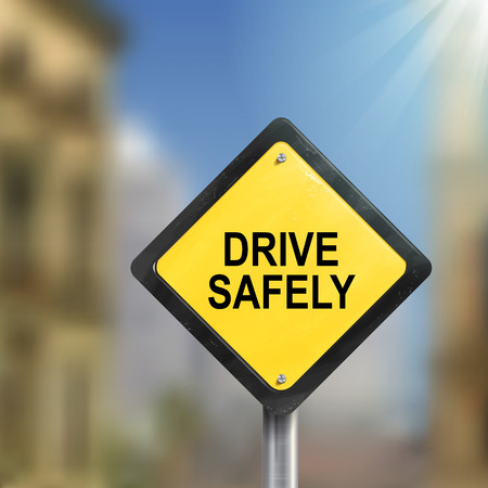 safely: 3d illustration of yellow roadsign of drive safely isolated on blurred street scene Illustration