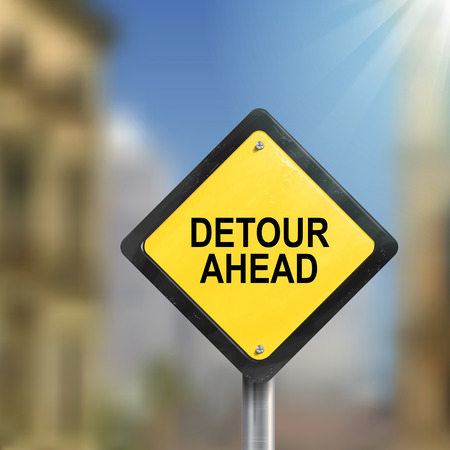 detour: 3d illustration of yellow roadsign of detour ahead isolated on blurred street scene