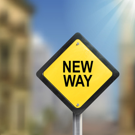 new way: 3d illustration of yellow roadsign of new way isolated on blurred street scene Illustration