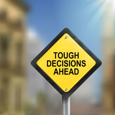厳しい決断先交通標識の 3 d イラストレーション