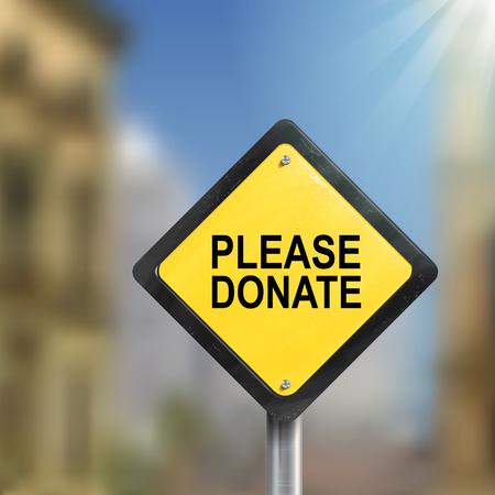 3D-afbeelding van geel bord of doneer op een wazig straatbeeld
