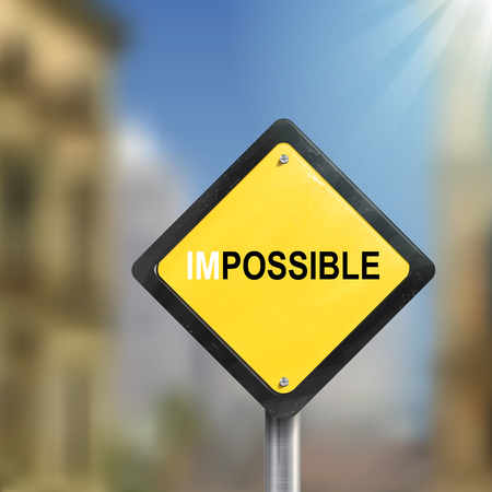 possible: 3d illustration of yellow roadsign of impossible possible  isolated on blurred street scene