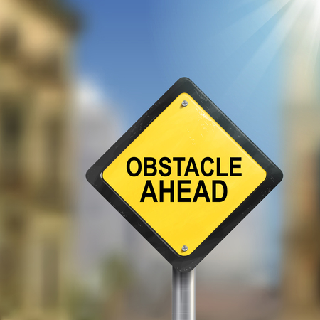 overcome: 3d illustration yellow roadsign of obstacle ahead isolated on blurred street scene