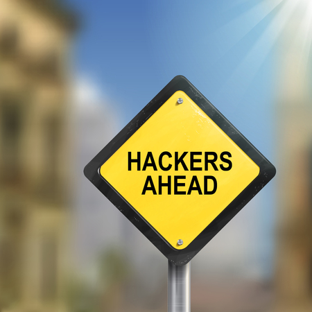 3d illustration of yellow roadsign of hackers ahead isolated on blurred street scene