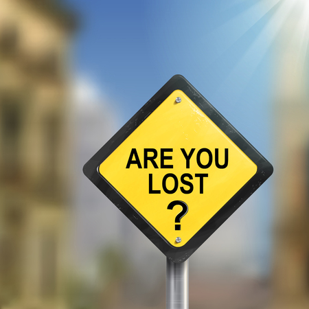 helpless: 3d illustration yellow roadsign of question are you lost isolated on blurred street scene