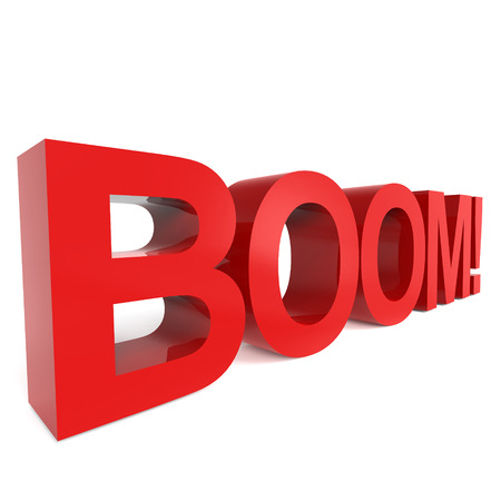 booming: 3D rendering word - BOOM isolated on white background