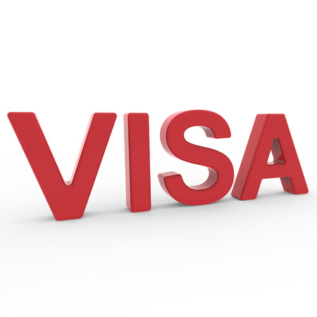 visa approved: 3D rendering word - VISA isolated on white background Stock Photo