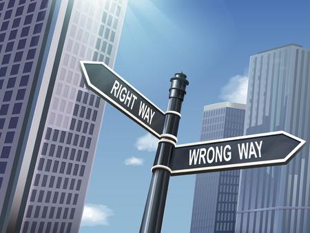 right of way: crossroad 3d illustration black road sign saying wrong way and right way