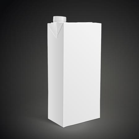 liter: blank carton beverage package on black background. 3D illustration.