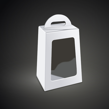 plastic window: blank white package box with plastic window isolated on black background. 3D illustration. Illustration