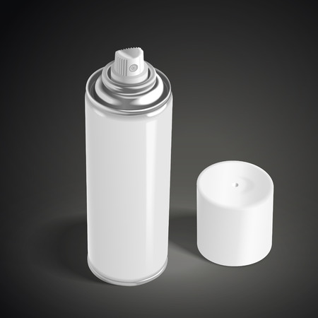 freshener: blank aerosol can isolated on black background. 3D illustration.