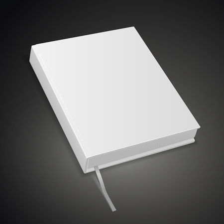 hardcover blank book isolated on black background. 3D illustration.