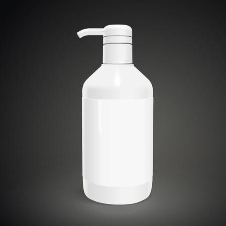 body care: blank body care bottle isolated on black background. 3D illustration.