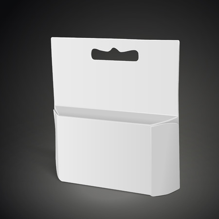 apertures: blank paper package isolated on black background. 3D illustration. Illustration